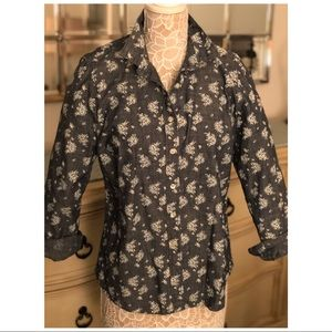 J. Crew Floral Print Denim Shirt